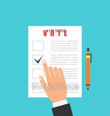 Illustration Human And Ballot Papers. Election And Voting Elements In Flat Style - Vector Stock Photo