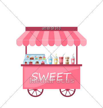 Illustration Icon Of Kiosk With Cakes, Milkshakes. Sweet Cart Isolated On White Background - Vector Stock Photo
