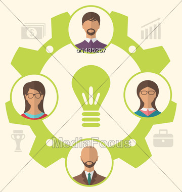 Illustration Idea Of Teamwork And Success, Business People Enclosed In Cogwheel - Vector Stock Photo