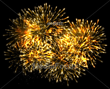 Illustration Illuminated Festive Firework, Glowing Holiday Background - Vector Stock Photo