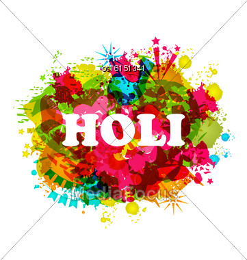 Illustration Indian Festival Holi Celebration Traditional Background, Abstract Art Grunge Texture, Colorful Blurs - Vector Stock Photo