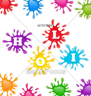 Illustration Indian Festival Holi Celebrations With Beautiful Colors Splash, Traditional Background - Vector Stock Photo