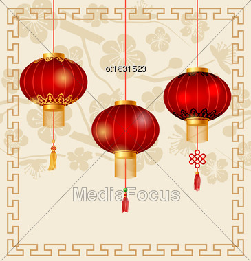 Illustration Japanese Or Chinese Background With Lanterns And Sakura - Vector Stock Photo
