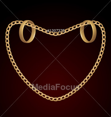 Jewelry Two Rings On Golden Chain Of Heart Shape - Vector Eps10 Mesh Stock Photo