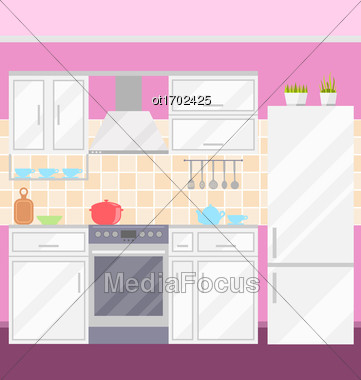 Illustration Kitchen With Furniture, Utensils, Food And Devices.Flat Style Icons - Vector Stock Photo