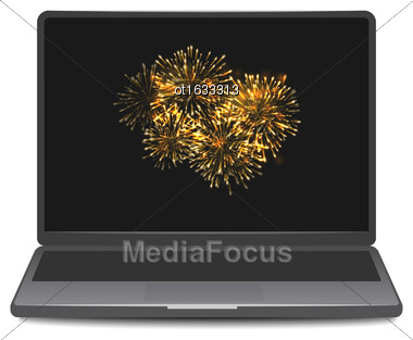 Illustration Laptop Screen Display With Firework. Notebook Isolated On White Background - Vector Stock Photo