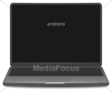 Illustration Laptop Screen Isolated On White Background. Can Be Used With Custom Images - Vector Stock Photo
