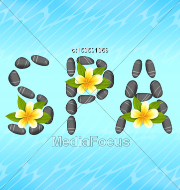 Illustration Lettering Spa Made Of Pebbles And Frangipani Flowers (plumeria), Zen Spa Natural Background - Vector Stock Photo