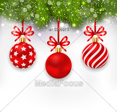 Illustration Light Wallpaper With Fir Twigs And Red Glassy Balls For Happy Winter Holidays - Vector Stock Photo