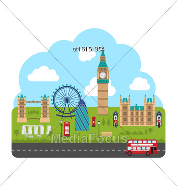 Illustration London, England. Urban Background. Concept Of Travel And Tourism Banner - Vector Stock Photo