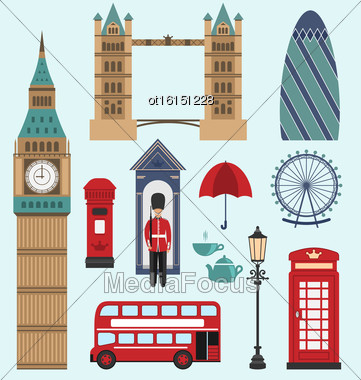 Illustration London,United Kingdom Flat Icons. Collection Of England Colorful Symbols. Group Of Travel Icons - Vector Stock Photo
