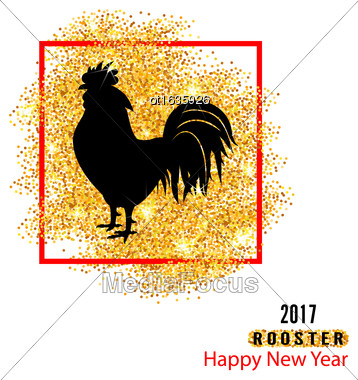 Illustration Magic Banner With Rooster As Symbol Chinese New Year 2017, Black Silhouette Of Cock, Glitter Golden Dust - Vector Stock Photo