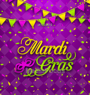 Illustration Mardi Gras Lettering Background, Invitation For Fat Tuesday, Poster In Traditional Colors - Vector Stock Photo