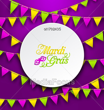Illustration Mardi Gras Traditional Card, Bunting Background - Vector Stock Photo