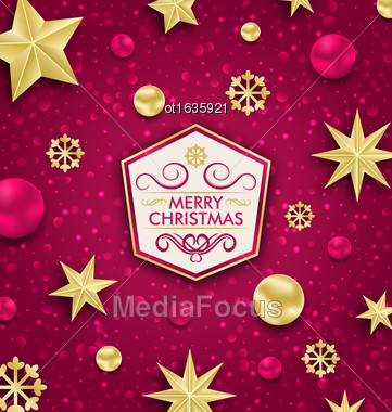 Illustration Merry Christmas Banner With Glitter Decoration - Vector Stock Photo