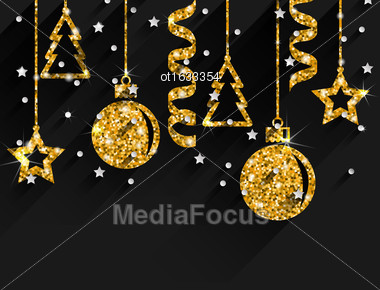 Illustration Merry Christmas Beautiful Card With Traditional Tinsel With Golden Dust Surface, Dark Glitter Background - Vector Stock Photo