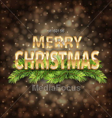 Illustration Merry Christmas Golden Text On Dark Background With Light - Vector Stock Photo