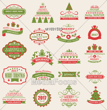 Illustration Merry Christmas And Happy Holidays Wishes. Collection Typographic Elements, Vintage Labels, Frames, Ornaments - Vector Stock Photo