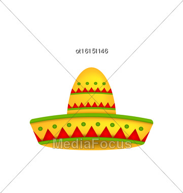Illustration Mexican Hat Sombrero Isolated On White Background. Symbol Of Mexico - Vector Stock Photo