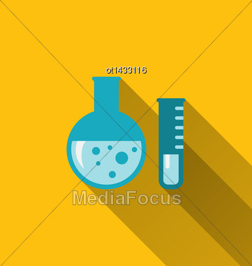 Illustration Modern Flat Icons Of Chemical Tubes With Long Shadows - Vector Stock Photo