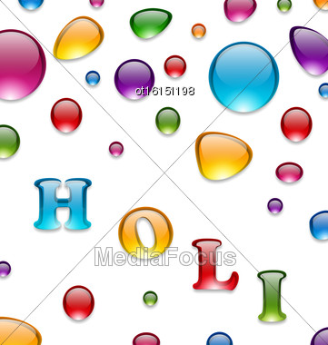 Illustration Multicolored Drops For Indian Festival Holi, Celebration Background - Vector Stock Photo