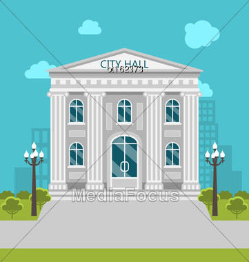 Illustration Municipal Building, City Hall, The Government, The Court. Urban Landscape - Vector Stock Photo