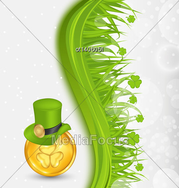 Illustration Natural Background With Coin, Hat, Shamrocks, Grass. St. Patrick's Day - Vector Stock Photo