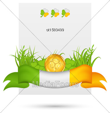 Illustration Natural Card With Coin, Clovers, Grass And Ribbon - In Traditional Irish Flag Colors For St. Patrick's Day - Vector Stock Photo