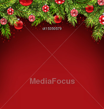 Illustration Natural Christmas Framework With Fir Twigs And Glass Balls, Copy Space For Your Text - Vector Stock Photo