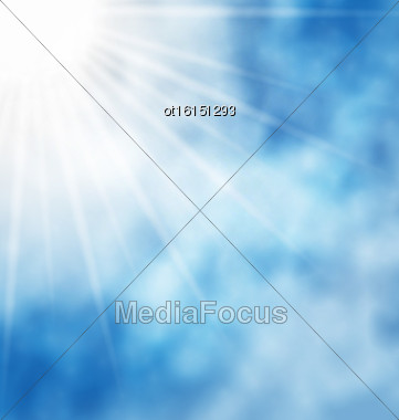 Illustration Of The Nature Background With Blue Sky And Bright Sun And Cloud - Vector Stock Photo
