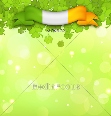 Illustration Nature Background With Shamrocks And Irish Flag For St. Patricks Day - Vector Stock Photo