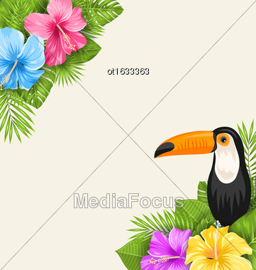 Illustration Nature Tropical Background With Toucan, Hibiscus Flowers And Palm Leaves. Exotic Banner - Vector Stock Photo