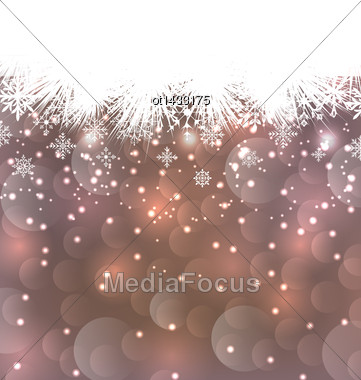 Illustration New Year Background Made In Snowflakes, Copy Space For Your Text - Vector Stock Photo