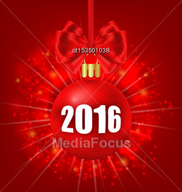 Illustration New Year Glowing Background With Christmas Balls - Vector Stock Photo