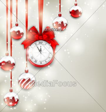Illustration New Year Magic Background With Clock And Glass Balls, Glowing Holiday Adornment - Vector Stock Photo
