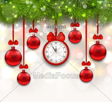 Illustration New Year Shimmering Background With Clock, Fir Branches And Glass Balls - Vector Stock Photo