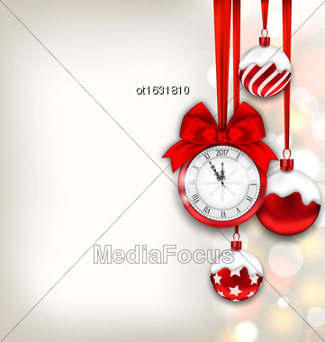 Illustration New Year Shimmering Background With Clock And Glass Balls - Vector Stock Photo