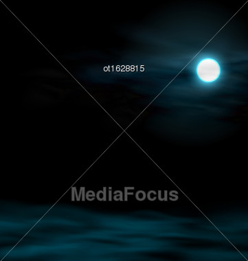 Illustration Night Sky With The Moon. Lunar Landscape - Vector Stock Photo