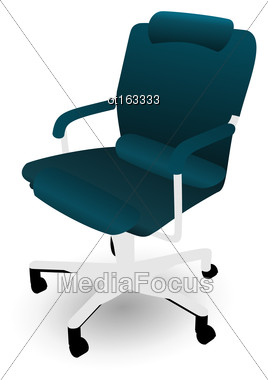Illustration Office Chair Isolated On White Background - Vector Stock Photo