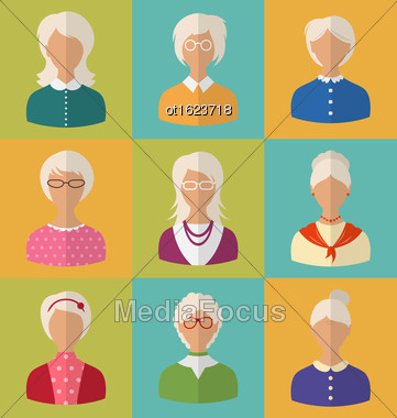 Illustration Old People Of Faces Of Women Of Grey-headed. Grandmothers Characters. Heads Of Pensioners. Females With Short And Long Hair. Cartoon Style Avatars. Flat Icons - Vector Stock Photo