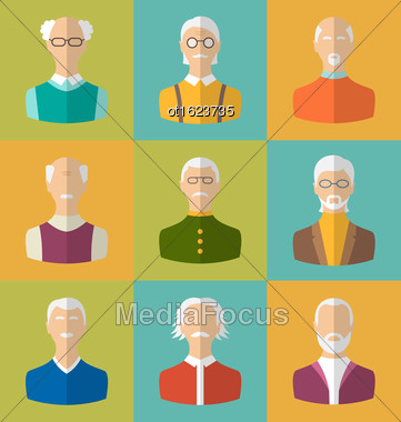 Illustration Old People Icons Of Faces Of Old Men. Grandfathers Characters. Heads Of Pensioners. Cartoon Style Avatars. Flat Icons - Vector Stock Photo