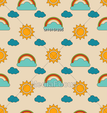 Illustration Old Seamless Pattern With Weather Symbols. Retro Background With Sun, Cloud, Rainbow - Vector Stock Photo