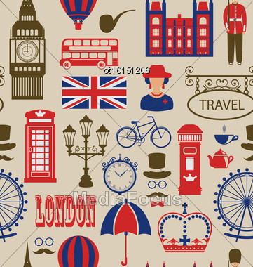 Illustration Old Seamless Texture Of Silhouettes Symbols Of Great Britain, Big Ben, Queen, Queen's Guard, Crown, Wheel, Bus, Telephone Box, Post Box, Umbrella. Vintage Wallpaper - Vector Stock Photo