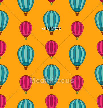 Illustration Old Seamless Travel Pattern Of Air Colorful Balloons. Retro Background - Vector Stock Photo