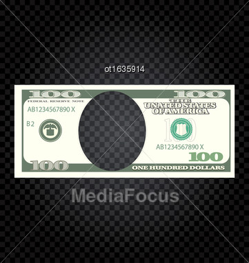 Illustration One Hundred Dollars Banknote On A Checker Background - Vector Stock Photo