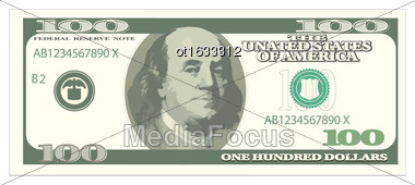 Illustration One Hundred Dollars Isolated On White Background, Banknote - Vector Stock Photo
