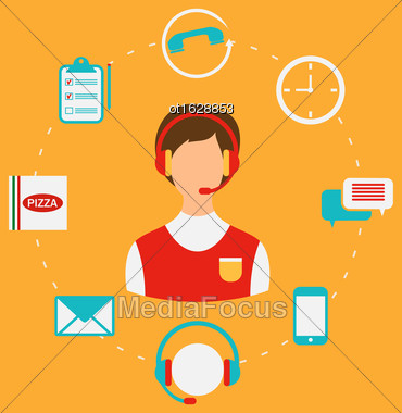 Illustration Order Pizza On-line, Call Center, Home Delivery. Flat Style Icons - Vector Stock Photo
