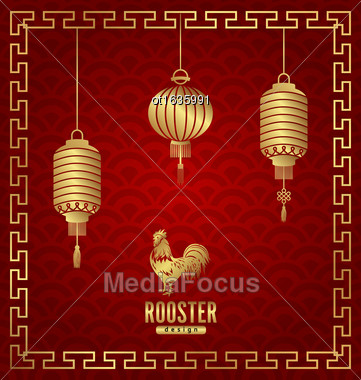 Illustration Oriental Banner For Chinese New Year Rooster. Templates For Design Greeting Cards, Invitations, Flyers Etc. - Vector Stock Photo