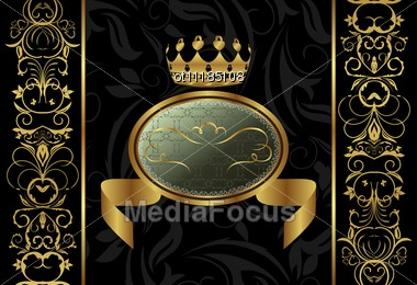 Ornate Background With Crown Stock Photo