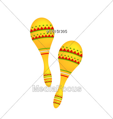 Illustration Pair Colorful Maracas Isolated On White Background, Musical Instrument Of Maraca, Cuba, Mexico, Carnival - Vector Stock Photo